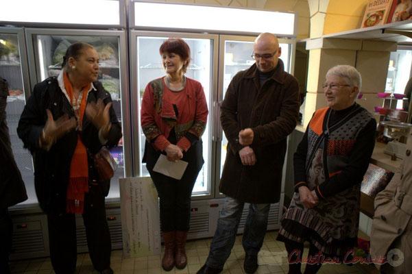 Martine Faure, Mireille Ormaechea, Jean Sameneyre, Mathilde Feld, Epicerie solidaire, l'Annexe de la Cabane, 38, rue Amaury de Craon à Créon