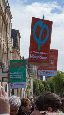 Manifestation du 1er mai 2017, avec la France Insoumise, cours d'Albret, Bordeaux