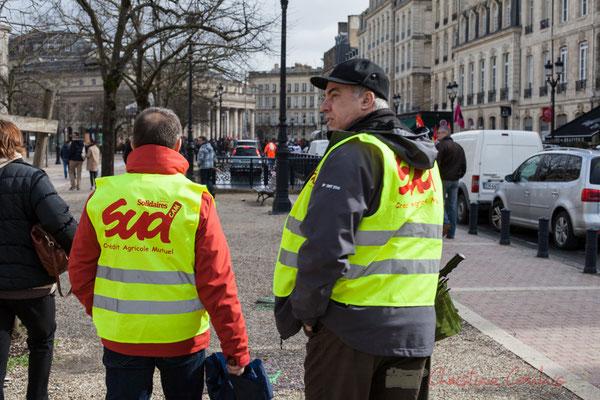 15h05, militants syndicaliste Sud Solidaires Crédit Agricole Mutuel, allée de Tourny, Bordeaux