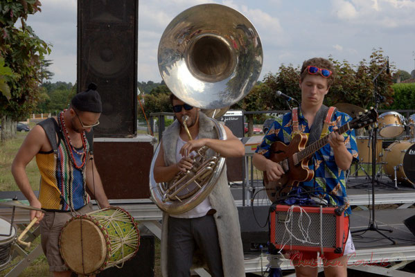 Elephant Brass Machine, Ludovic Lesage, Damien Bachère, Thomas Boudé. Festival JAZZ360 2015, Cénac, 12/06/2016