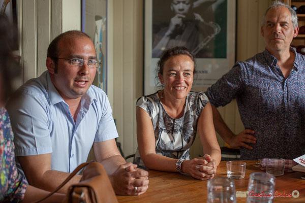 Christophe Miqueu, candidat aux élections législatives, 12ème circonscription de la Gironde; Mathilde Feld, Présidente de la CDC du Créonnais; Lionel Chollon, Maire de Loupiac. 17 mai 2017, Saint-Macaire