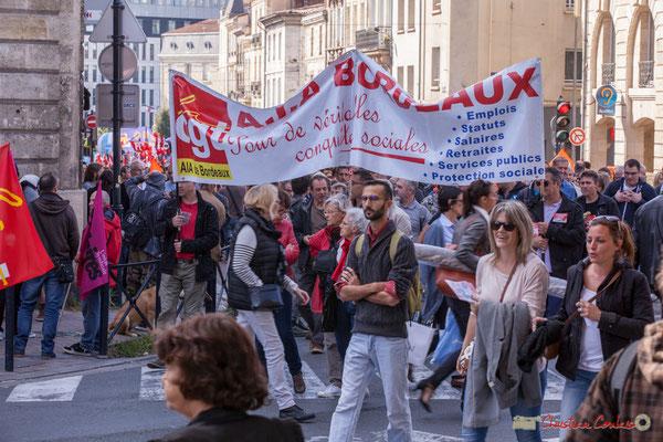 """C.G.T. A.IA. Bordeaux """"Pour de véritables conquêtes sociales"""" Manifestation intersyndicale de la Fonction publique, place Gambetta, Bordeaux. 10/10/2017"""