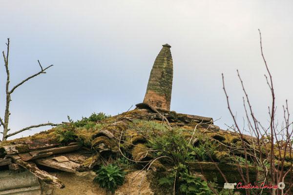 Epi de faîtage en poterie vernissée typique des productions de sadirac, sur toit conique qui recouvre la tour ronde du XVIIème siècle. Château de Montignac, Cénac. 02/03/2008