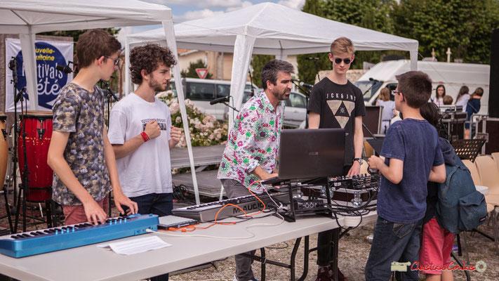 """""""De nouveaux adhérents en 2019 ?"""" Atelier Electro Jazz de Franck Martin, association AMAC. Festival JAZZ2018, Cénac. 08/06/2018"""