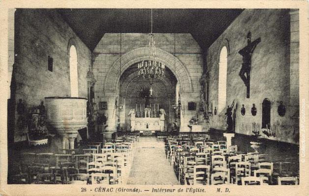 Intérieur de l'église Saint-André 1943. Cénac d'antan. Collection Jean-Pierre Couthouis