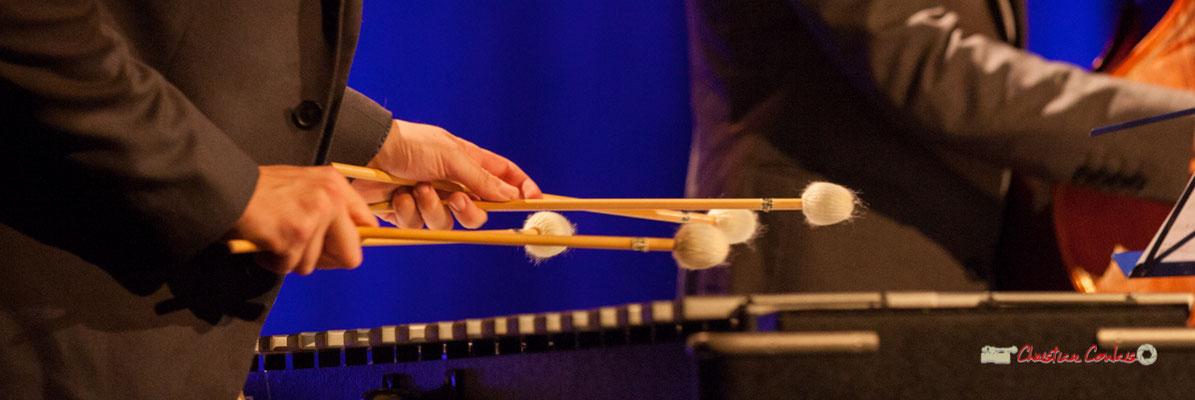 Jeu de battes de vibraphone par Félix Robin; Capucine Quartet, Soirée Cabaret JAZZ360, Cénac. Samedi 16 mars 2019