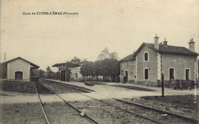 Gare ferroviaire de Citon 1914. Cénac d'antan. Collection Jean-Pierre Couthouis