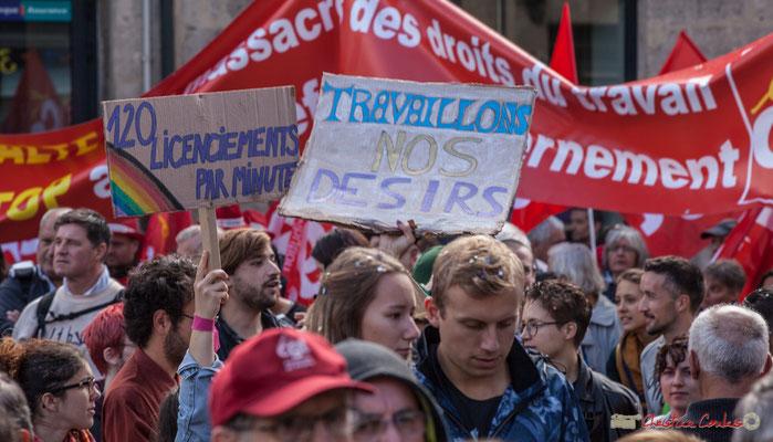 """""""Travaillons nos désirs"""" Manifestation contre la réforme du code du travail. Place Gambetta, Bordeaux, 12/09/2017"""