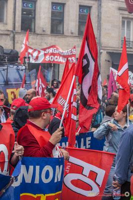 FO, présent à Bordeaux. Manifestation contre la réforme du code du travail. Place Gambetta, Bordeaux, 12/09/2017