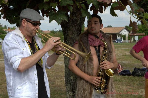 Elephant Brass Machine, Régis Lahontâa, Mathis Polack. Festival JAZZ360 2015, Cénac, 12/06/2016