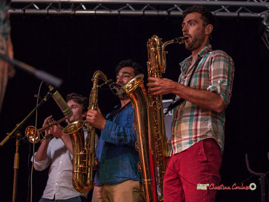 Paolo Chatet, Mathis Polack, Brice Matha; le Parti Collectif. Festival JAZZ360 2019, Latresne, 09/06/2019