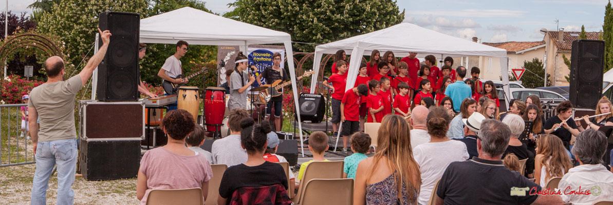 Chorale de l'école du Tourne, (Vincent Nebout), accompagnée par le Big Band Jazz du Collège Eléonore de Provence, (Rémi Poymiro). Festival JAZZ360 2018, Cénac. 08/06/2018