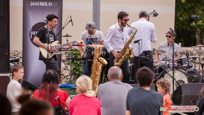 Denis Cornardeau, Ludo Lesage, François-Marie Moreau, Pierre-Jean Ley, Simon Renault; Shob & Friends. Festival JAZZ360 2018, Quinsac. 10/06/2018