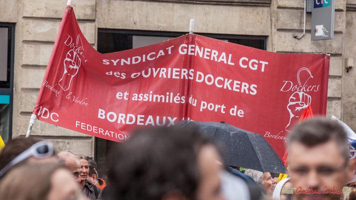 Syndicat général CGT des ouvriers dockers et assimilés du Port de Bordeaux-le Verdon. Manifestation contre la réforme du code du travail. Place Gambetta, Bordeaux, 12/09/2017