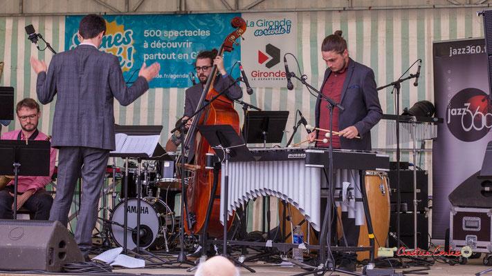 Mathieu Tarot, Louis Laville, Félix Robin; Big Band du Conservatoire Jacques Thibaud. Festival JAZZ360 2019, parc du château de Pomarède, Langoiran. 06/06/2019