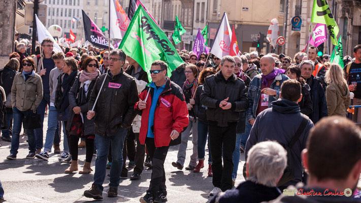 14h55 Sud Solidaires. Manifestation intersyndicale de la Fonction publique/cheminots/retraités/étudiants, place Gambetta, Bordeaux. 22/03/2018