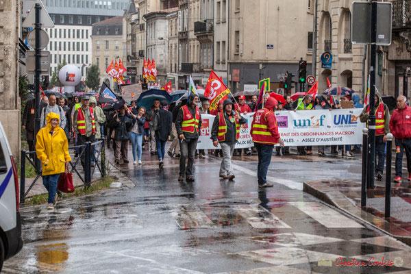 11h04 Manifestation contre la réforme du code du travail. Place Gambetta, Bordeaux, 12/09/2017