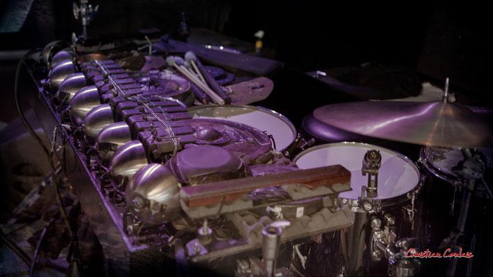 """Flamentophone : percussions uniques au monde de Benjamin Flament ; Sylvains Rifflet """"Troubadours"""" Quartet. Festival JAZZ360, samedi 5 juin 2021, Cénac. Photographie © Christian Coulais"""