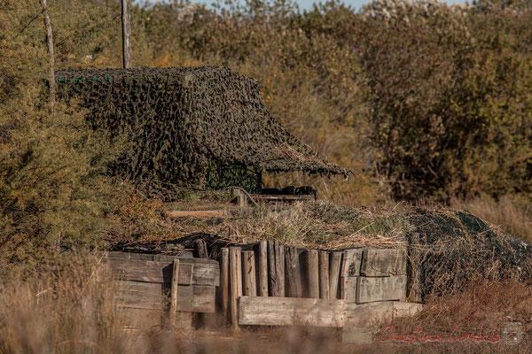 La tonne, abri-camouflage pour chasseurs. Domaine de Certes-et-Graveyron, Audenge