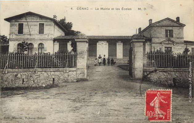 Mairie-Ecole 1908. Cénac d'antan. Collection Jean-Pierre Couthouis