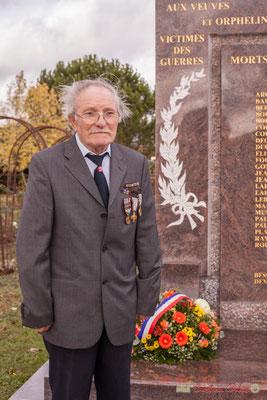 René Montarras, ancien combattant. Commémoration du 11 novembre 1918 à Cénac, 11/11/2017