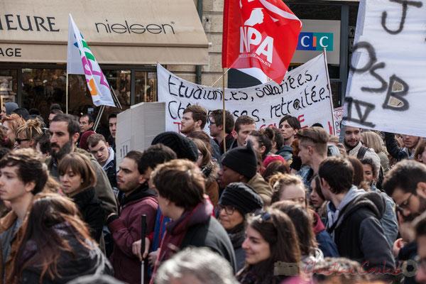 """14h26, """"Etudiant.e.s, salarié.e.s, chômeurs.ses, retaité.e.s ..."""". Place gambetta"""
