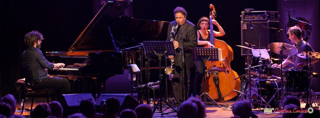 """Benjamin Moussey, Louis Sclavis, Sarah Murcia, François Merville; Louis Sclavis Quartet """"Characters on a wall"""". Festival JAZZ360 2018, Cénac. 08/06/2018"""