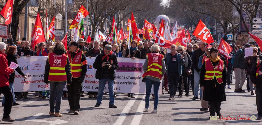 Arrêt devant le rectorat. Manifestation intersyndicale de la Fonction publique/cheminots/retraités/étudiants, cours d'Albert, Bordeaux. 22/03/2018