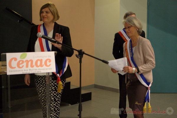 Catherine Veyssy, Simone Ferrer; Honorariat des anciens Maires de Cénac, vendredi 3 avril 2015