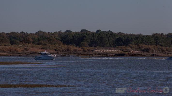 Sortie d'un bateau du port d'Audenge. Domaine de Graveyron, Audenge