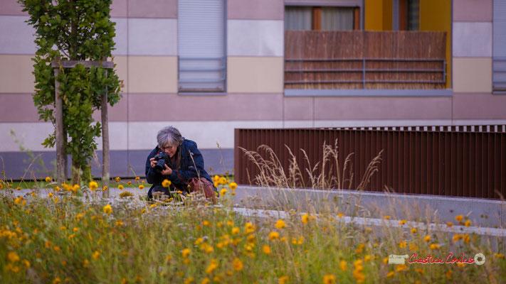 """""""L'envers du décors"""", avec Odile Roux, photographiant la fleur précédente par Christian Coulais. Bordeaux, jeudi 13 juin 2019"""