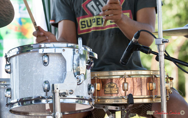 """Pearl, Marvin Smitty Smith model snare drum of Gaétan Diaz"", Gaétan Diaz Quintet. Festival JAZZ360, 10 juillet 2017, Cénac"