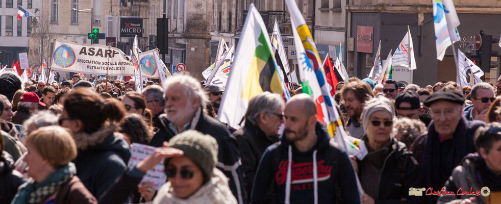 15h03 ASARP Association Sociale Autonome des Retraités Police 33. Manifestation intersyndicale de la Fonction publique/cheminots/retraités/étudiants, place Gambetta, Bordeaux. 22/03/2018