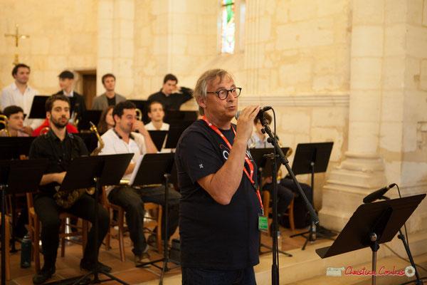 Richard Raducanu, Président de JAZZ360 présente le Big Band Jazz du conservatoire Jacques Thibaud. Festival JAZZ360 2018, Cénac. 09/06/2018