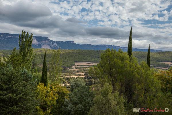 Depuis le château de Javier, vue impressionnante avec, au Nord, la Sierra de Leyre, à l'Ouest, la vega de la rivière Aragon, à l'Est, la frontière avec l'Aragon, et au Sud, la commune de Castellar