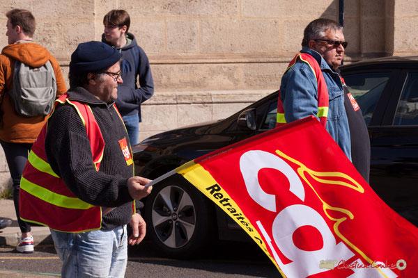 """""""La CGT retraités cheminots"""". Manifestation intersyndicale de la Fonction publique/cheminots/retraités/étudiants, cours d'Albert, Bordeaux. 22/03/2018"""