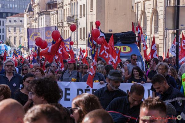 F.O. Manifestation intersyndicale de la Fonction publique, rue du Docteur Nancel Pénard, Bordeaux. 10/10/2017