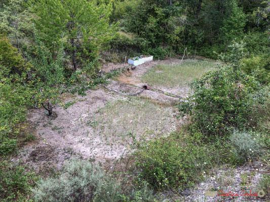 Jardinage, pommier et laitues...bien arrosées, en contrebas de la NA-2200, à Castillo-Nuevo, Navarra