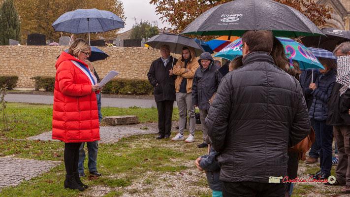 En présence de Jean-Marie Darmian, Vice-président du Conseil départemental de la Gironde. Commémoration de l'Armistice du 11 novembre 1918 et hommage rendu à tous les morts pour la France, ce lundi 11 novembre 2019 à Cénac (Gironde).