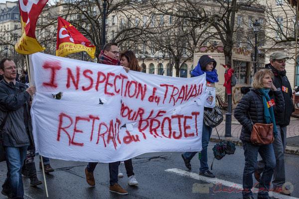 """15h06, CGT-inspection du travail """"Pour le retrait du projet"""", allée de Tourny, Bordeaux"""