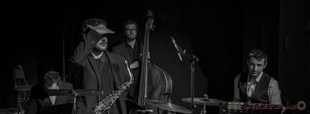 Le quatuor jazzy de Carmen in Jazz, lors des balances, Vincent Vilnet, Paul Robert, Aurélien Gody, Hugo Raducanu et au son Pablo Jaraute