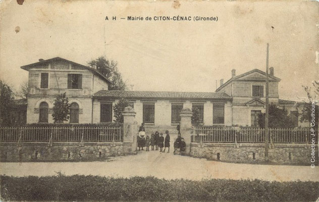 Mairie-Ecole 1915. Cénac d'antan. Collection Jean-Pierre Couthouis