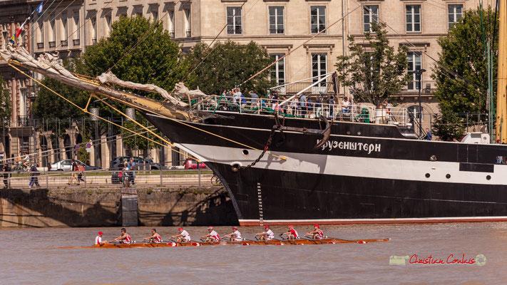Course d'aviron, à la proue du Krusenstern. Bordeaux, 22/06/2019 Reproduction interdite - Tous droits réservés © Christian Coulais