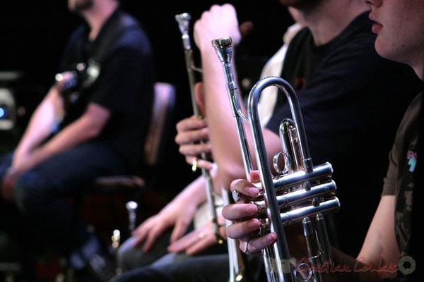 Trompette. Répétition du Conservatoire Jacques Thibaud, section MMA. Festival JAZZ360, Les coulisses du Festival à Cénac. 03/06/2011