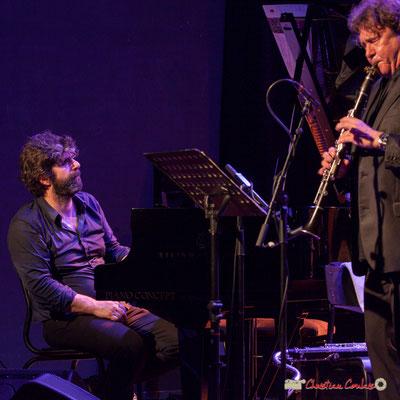 """Benjamin Moussey, Louis Sclavis; Louis Sclavis Quartet """"Characters on a wall"""". Festival JAZZ360 2018, Cénac. 08/06/2018"""