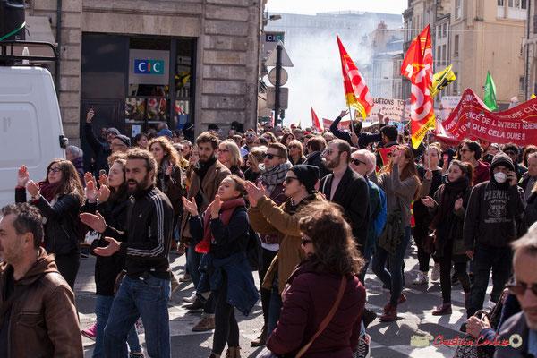 14h45 Manifestation intersyndicale de la Fonction publique/cheminots/retraités/étudiants, place Gambetta, Bordeaux. 22/03/2018