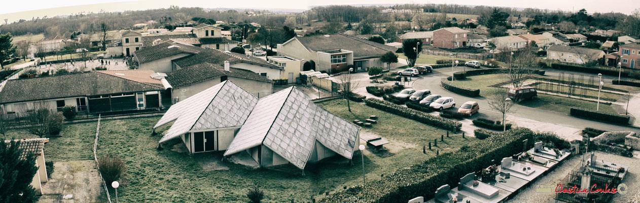 Vue panoramique grand sud-ouest, depuis le clocher-mur de l'église Saint-André, Cénac. 18/02/2010