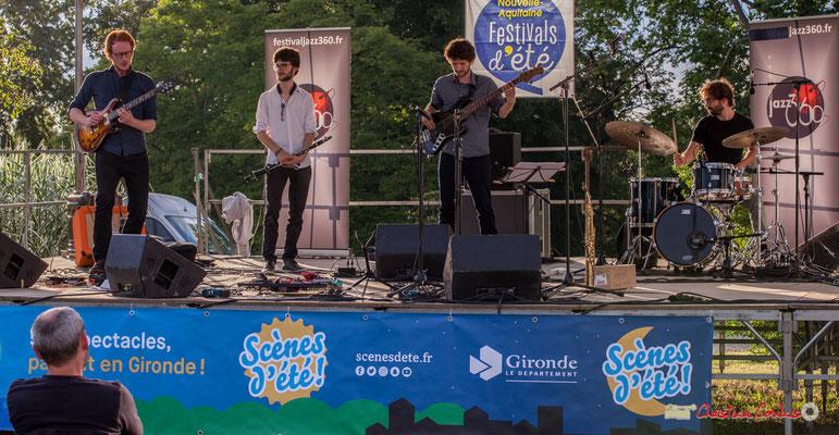 Solo de Théo Duboule, Clément Meunier, Gaspard Colin, Marton Kiss; Oggy & The Phonics. Festival JAZZ360 2018, Langoiran. 07/06/2018