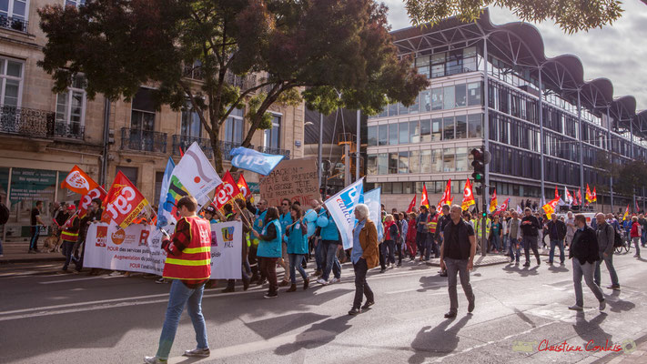 Tête du cortège. Manifestation intersyndicale de la Fonction publique, cours d'Albert, Bordeaux. 10/10/2017