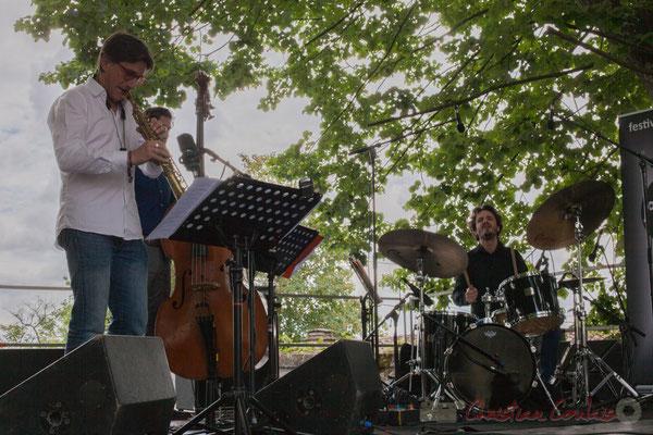 Eric Séva Quartet : Eric Séva, Kevin Reveyrand, Matthieu Chazarenc. Festival JAZZ360 2016, Camblanes-et-Meynac, 11/06/2016